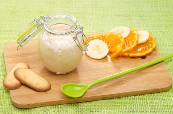 recette de goûter pour bébé à la clémentine, banane et yaourt