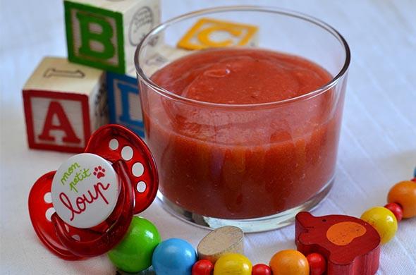 Dessert bébé pommes et fraises en compote
