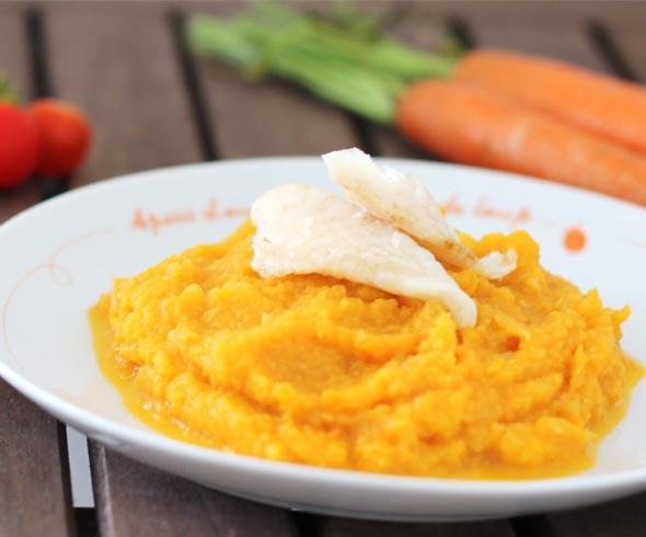 Filet de daurade et sa purée de fenouil, carotte et tomates cerise
