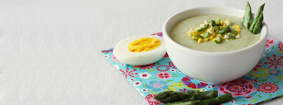 Crème d'asperge et oeuf mimosa