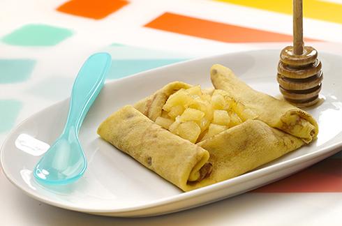 Recepte voor baby Haverflensjes met appel en honing
