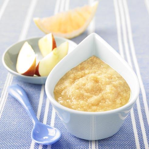 Mousse de frutas con jugo de pomelo