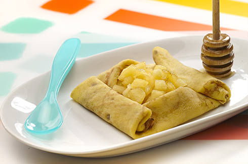 Rezepte für baby Crêpes mit Hafer, Honig und Apfel