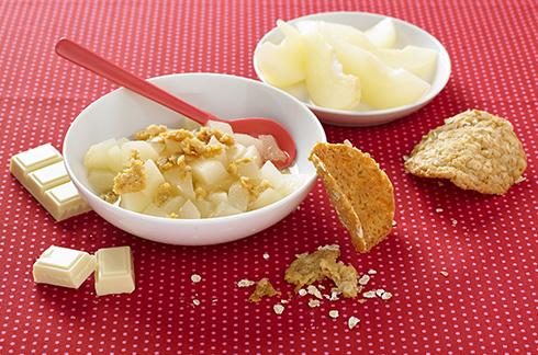 recette bébé Poires vapeur et tuile choco-miel