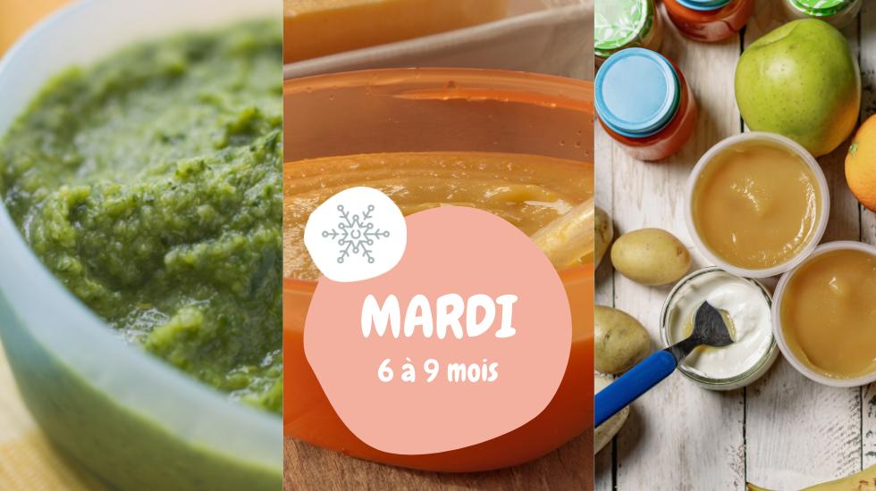 cuisine de bébé hiver 6-9 mois menu mardi