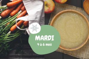menu bébé diversification alimentaire 4-6 mois